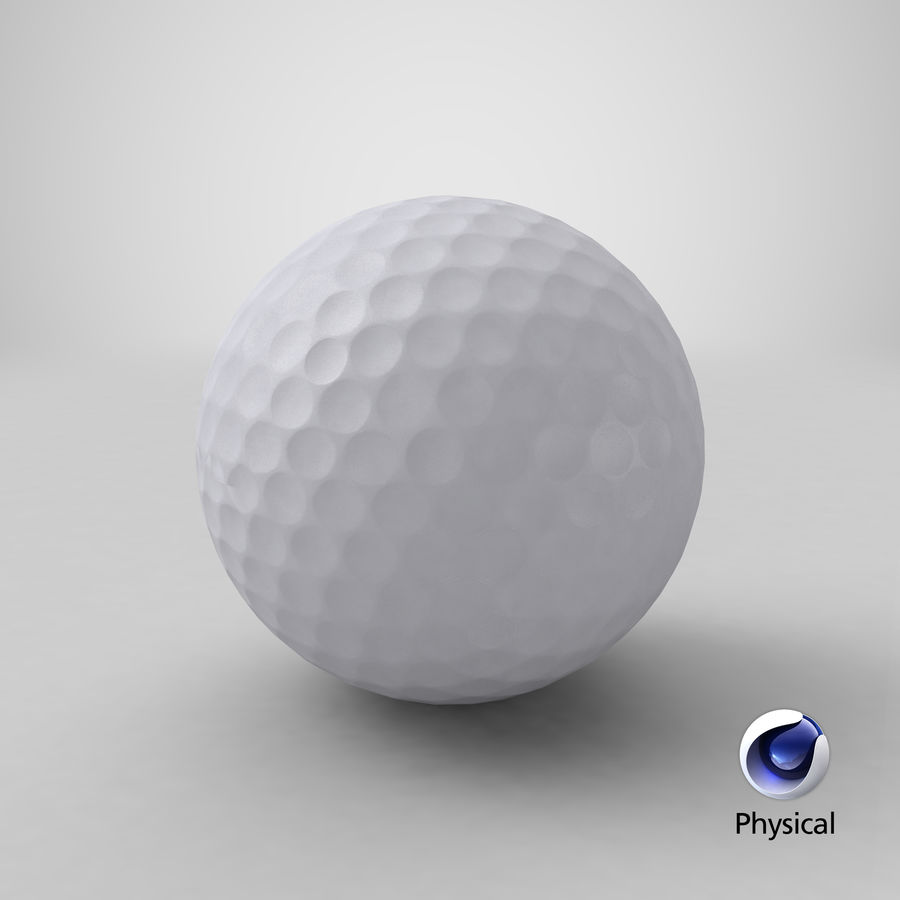 Golfbal laag poly royalty-free 3d model - Preview no. 16