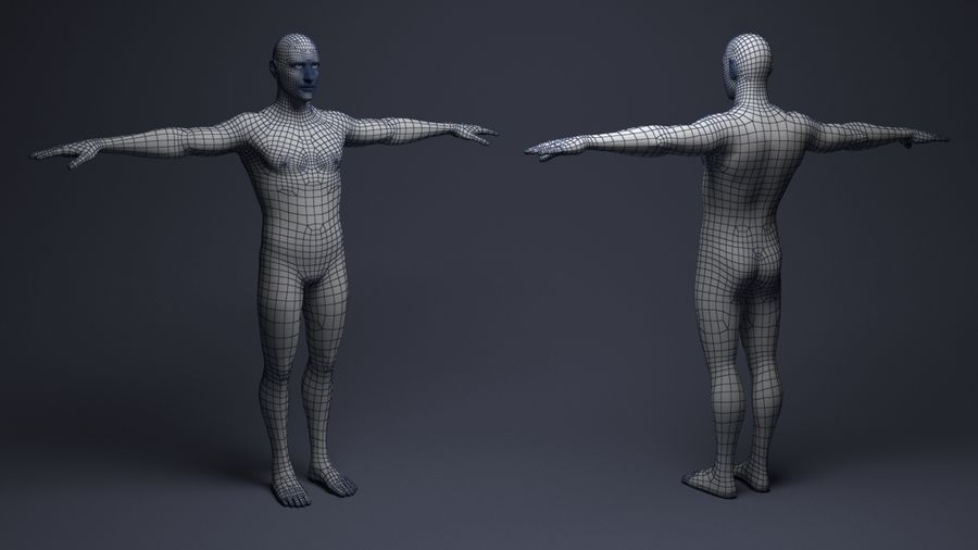 Basemesh male low poly royalty-free 3d model - Preview no. 4