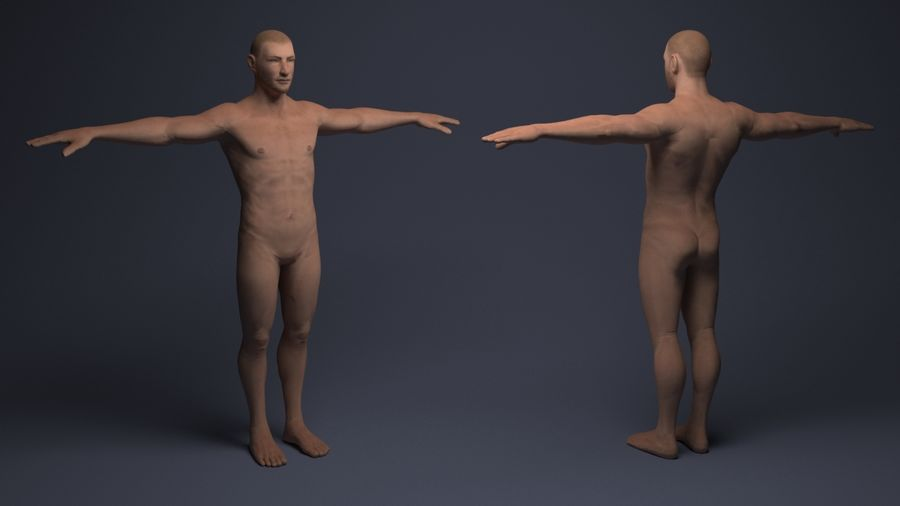Basemesh male low poly royalty-free 3d model - Preview no. 3