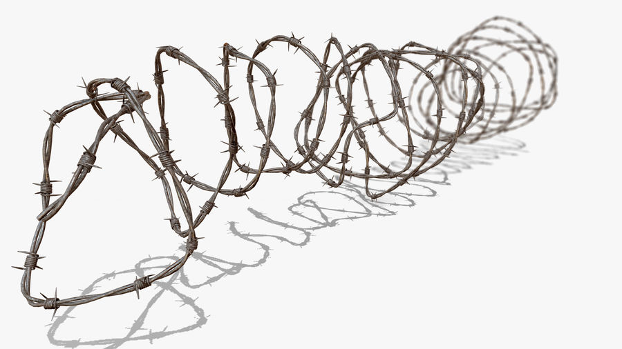 Razor Barbed Wire PBR royalty-free 3d model - Preview no. 4