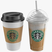 Two Starbucks Coffee Cups 3d model