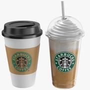Two Starbucks Coffee Cups 3d model