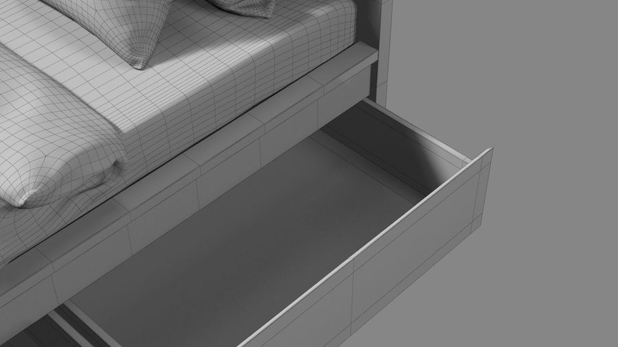Łóżko pojedyncze IKEA Malm z szufladą royalty-free 3d model - Preview no. 19