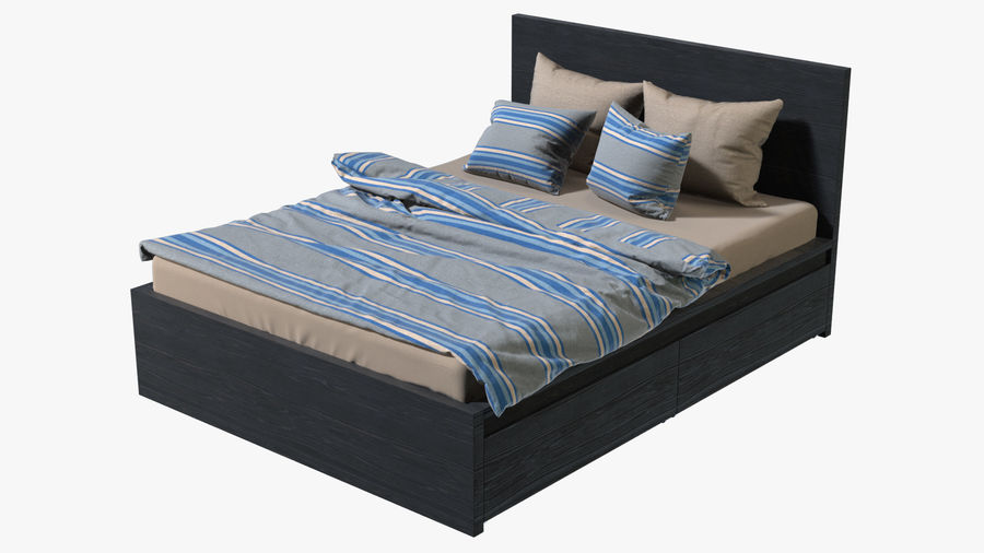 IKEA Malm Łóżko podwójne z szufladą royalty-free 3d model - Preview no. 2