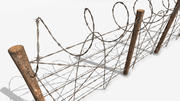 Barbed wire fence wood 3d model