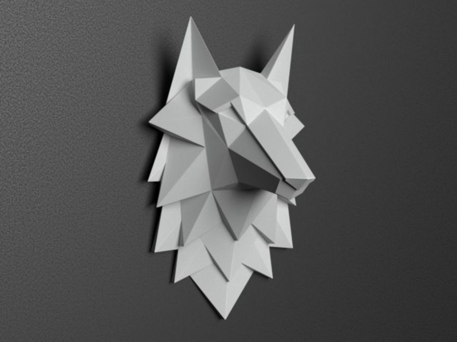 Głowa wilka Low Poly royalty-free 3d model - Preview no. 2