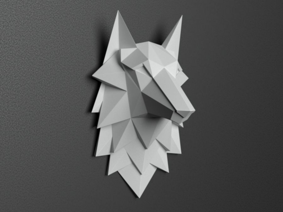 Głowa wilka Low Poly royalty-free 3d model - Preview no. 1