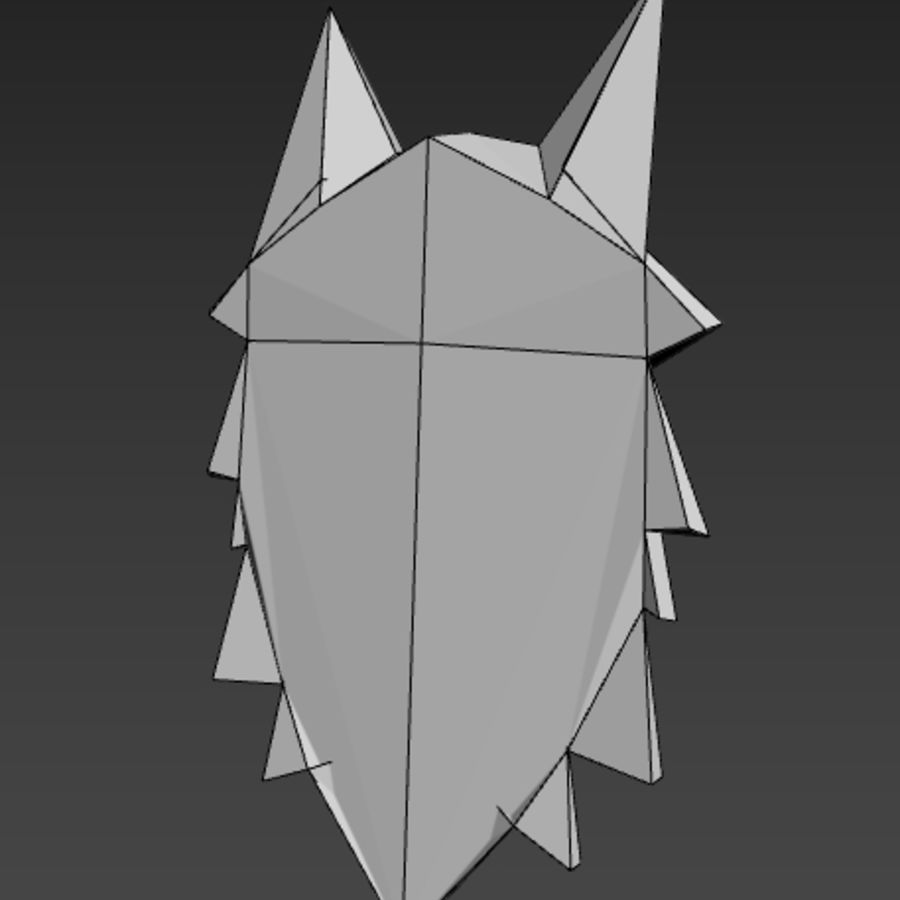 Głowa wilka Low Poly royalty-free 3d model - Preview no. 6