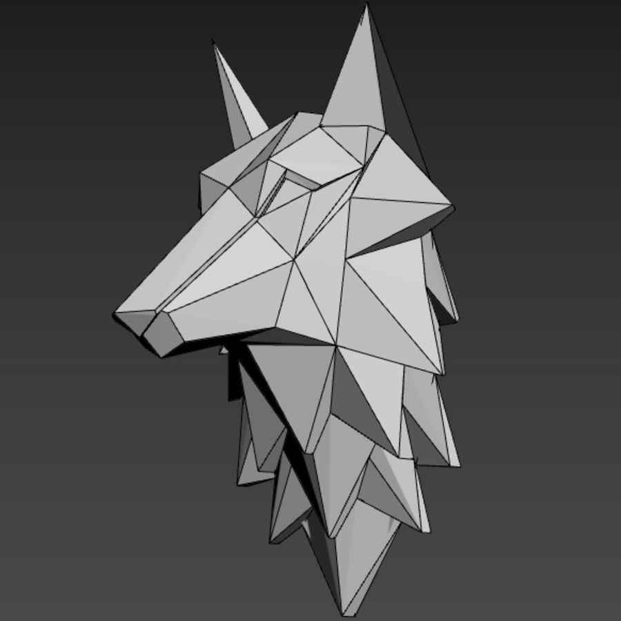 Głowa wilka Low Poly royalty-free 3d model - Preview no. 4