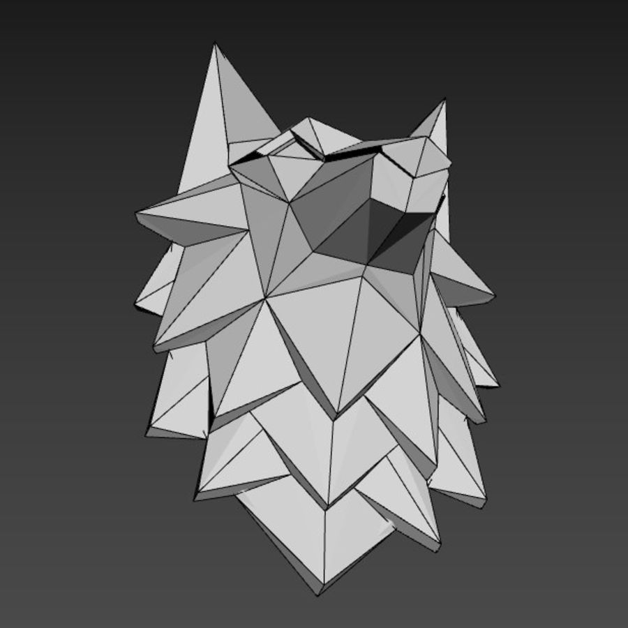 Głowa wilka Low Poly royalty-free 3d model - Preview no. 8