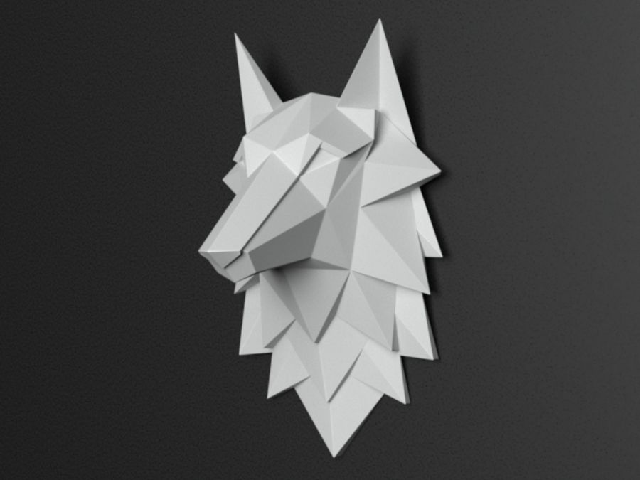 Głowa wilka Low Poly royalty-free 3d model - Preview no. 3