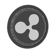 ripple black coin 3d model