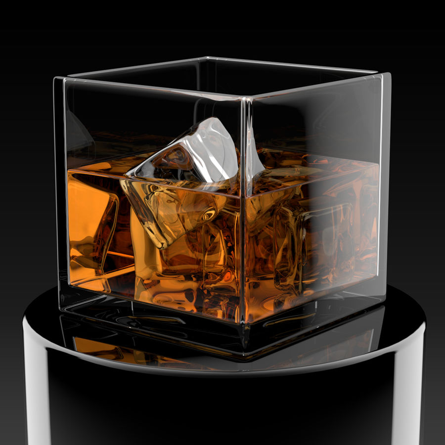 Whiskey Glass Square royalty-free 3d model - Preview no. 2