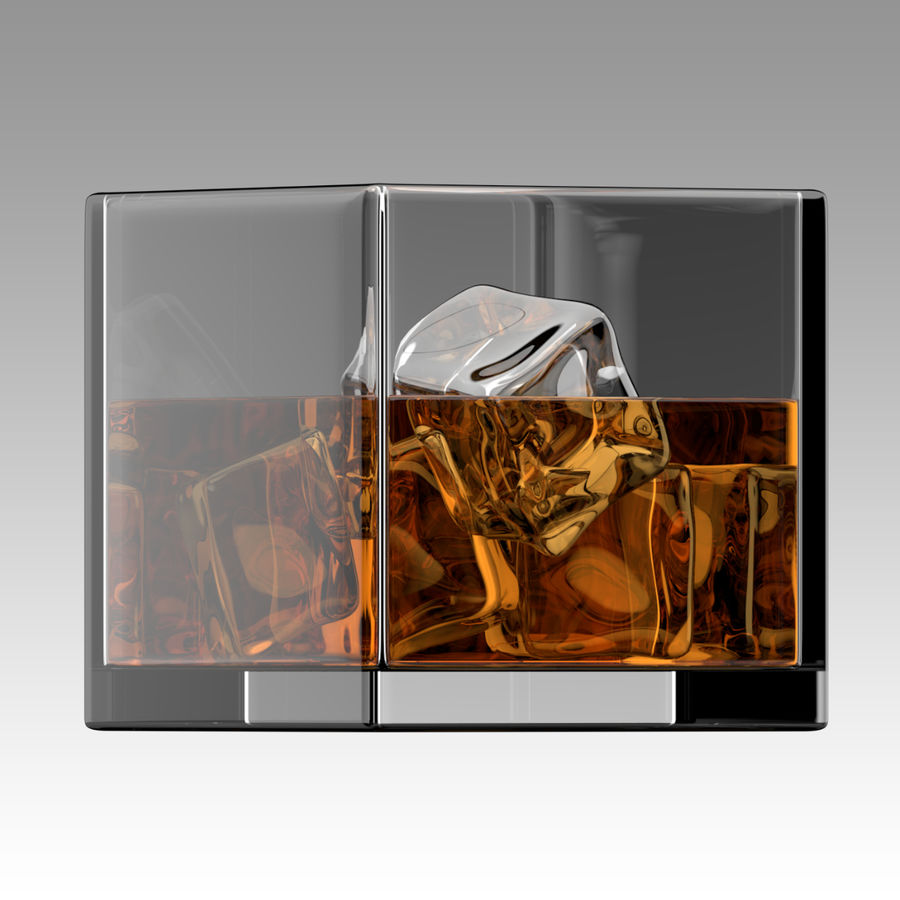 Whiskey Glass Square royalty-free 3d model - Preview no. 3