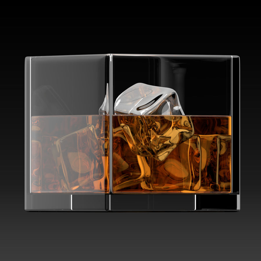 Whiskey Glass Square royalty-free 3d model - Preview no. 4