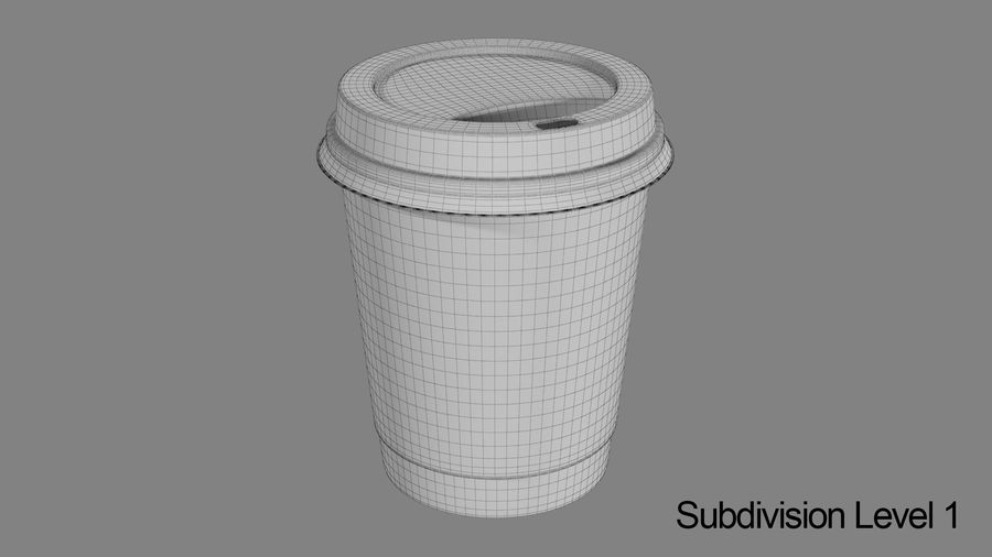 Papieren koffiekopje vies royalty-free 3d model - Preview no. 8