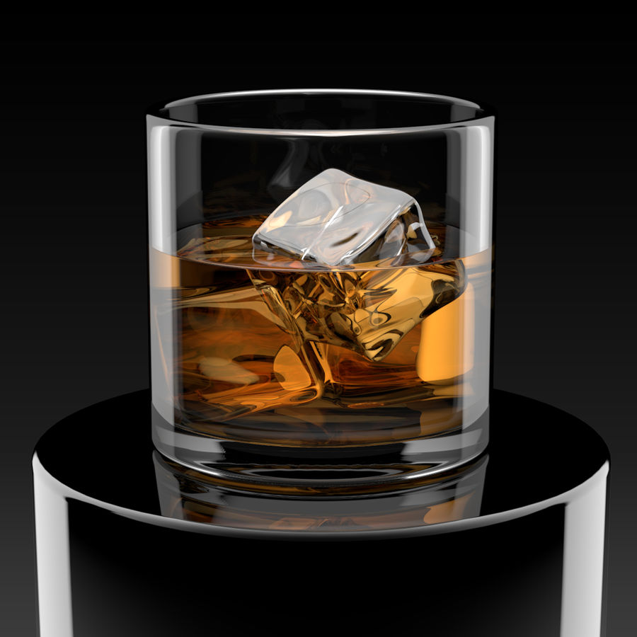 Whiskey Glass Round royalty-free 3d model - Preview no. 2
