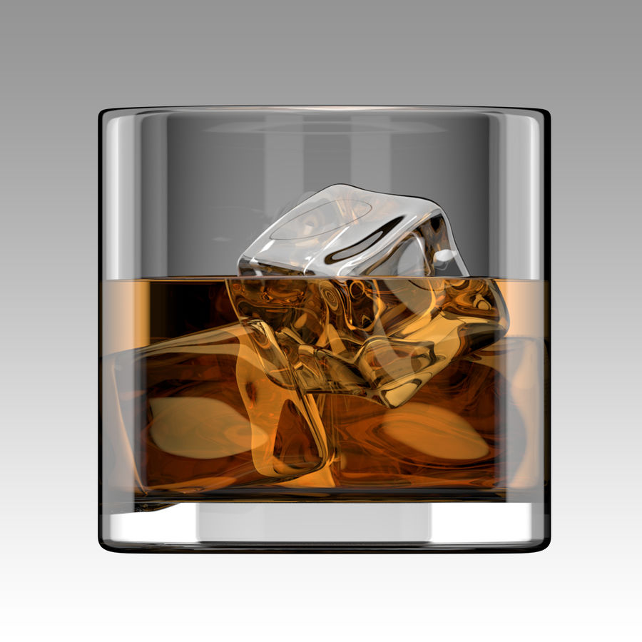Whiskey Glass Round royalty-free 3d model - Preview no. 3