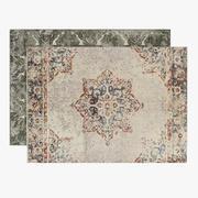 Set di tappeti in lino stile antico Cadence in peltro e lavita 3d model