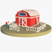 Cartoon Barn, Fence and Mailbox (Giocattoli) 3d model