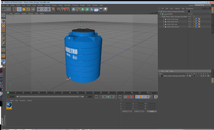 Plastic wateropslagtank 600L royalty-free 3d model - Preview no. 15