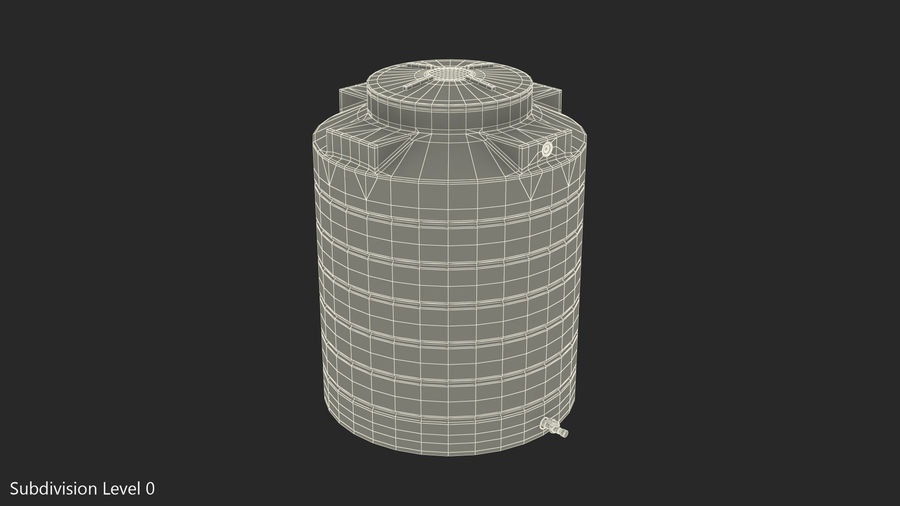 Plastic wateropslagtank 600L royalty-free 3d model - Preview no. 10