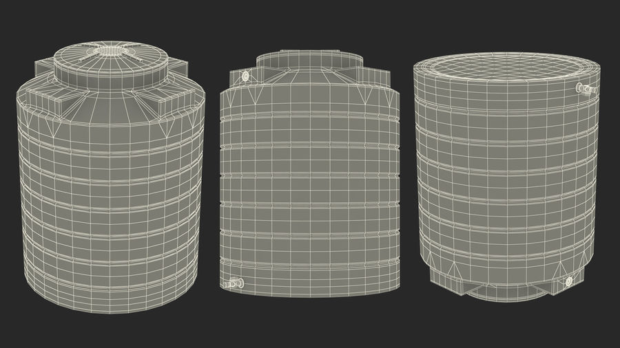 Plastic wateropslagtank 600L royalty-free 3d model - Preview no. 17