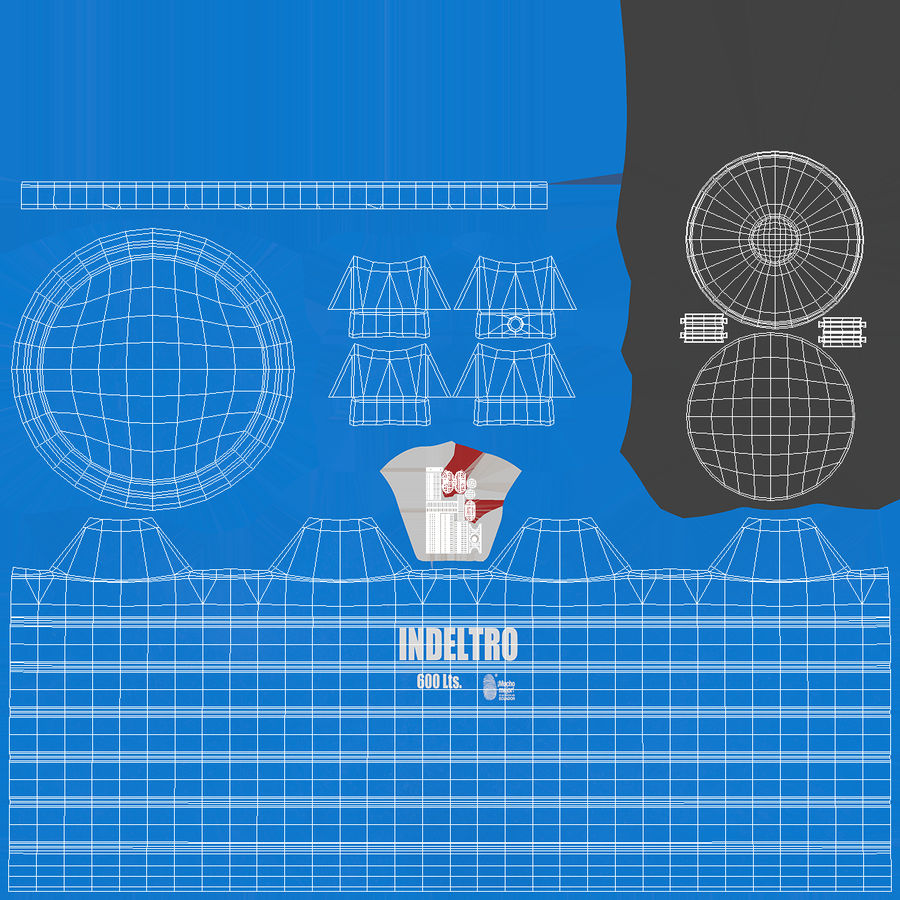 Plastic wateropslagtank 600L royalty-free 3d model - Preview no. 12