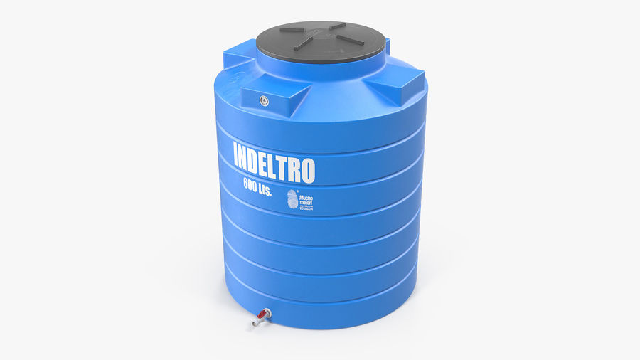 Plastic wateropslagtank 600L royalty-free 3d model - Preview no. 2