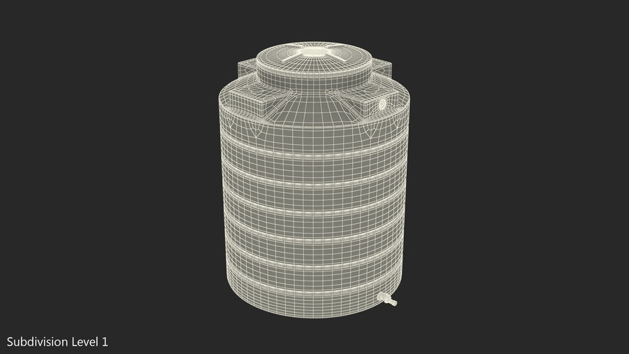 Plastic wateropslagtank 600L royalty-free 3d model - Preview no. 11