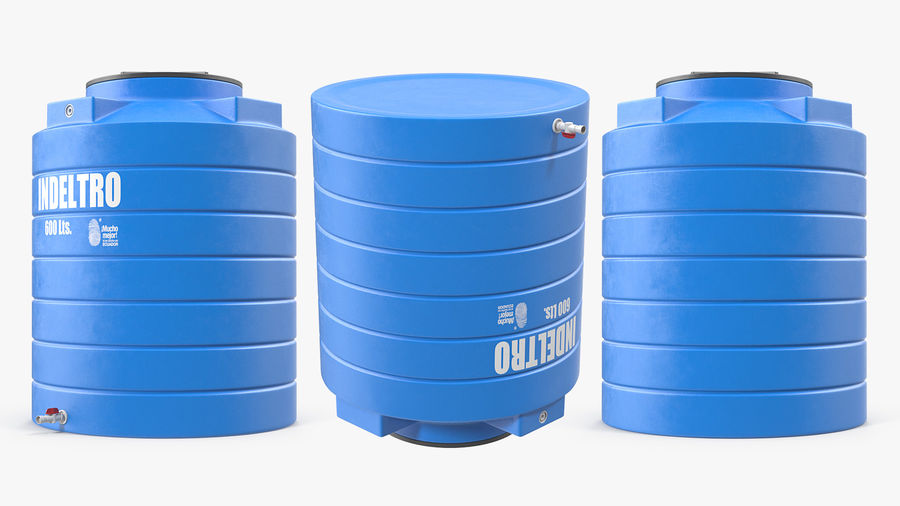 Plastic wateropslagtank 600L royalty-free 3d model - Preview no. 5