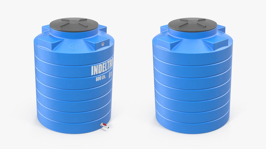 Plastic wateropslagtank 600L royalty-free 3d model - Preview no. 9