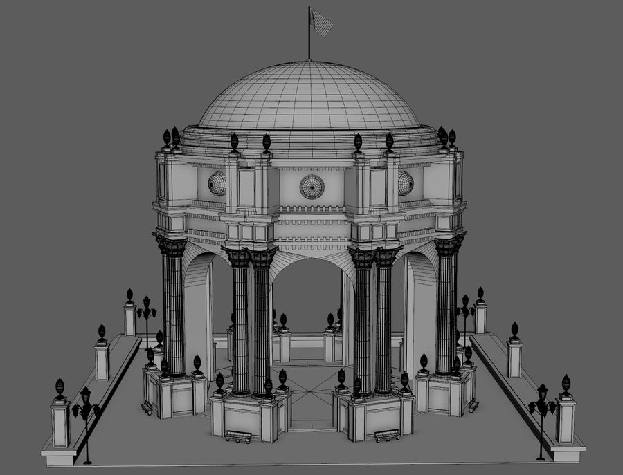 Classic Dome Structure royalty-free 3d model - Preview no. 6