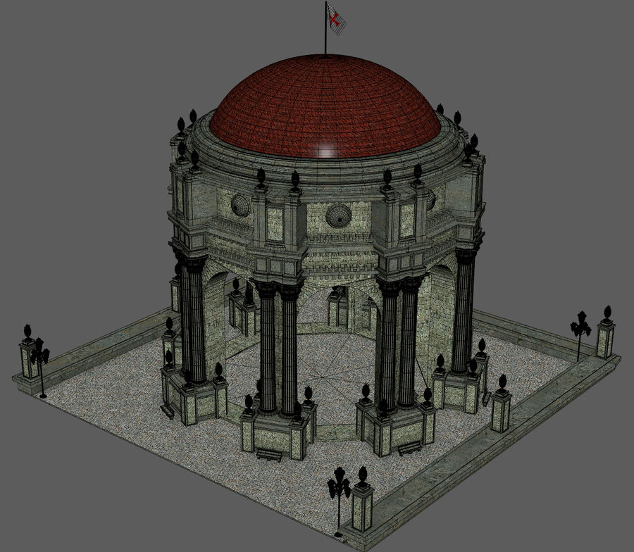 Classic Dome Structure royalty-free 3d model - Preview no. 8