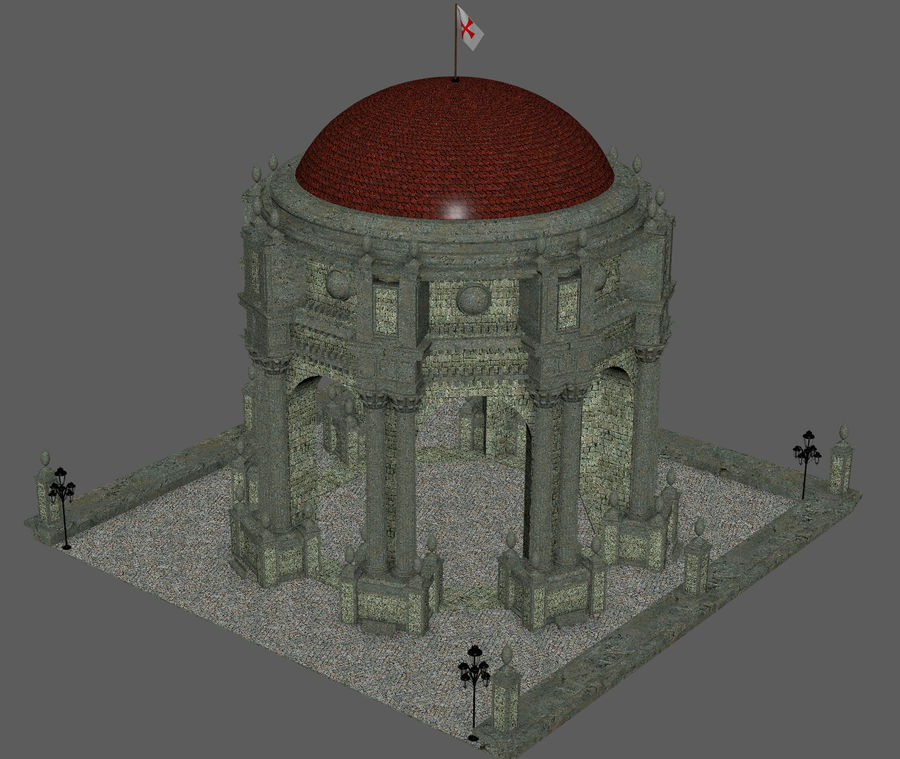 Classic Dome Structure royalty-free 3d model - Preview no. 7