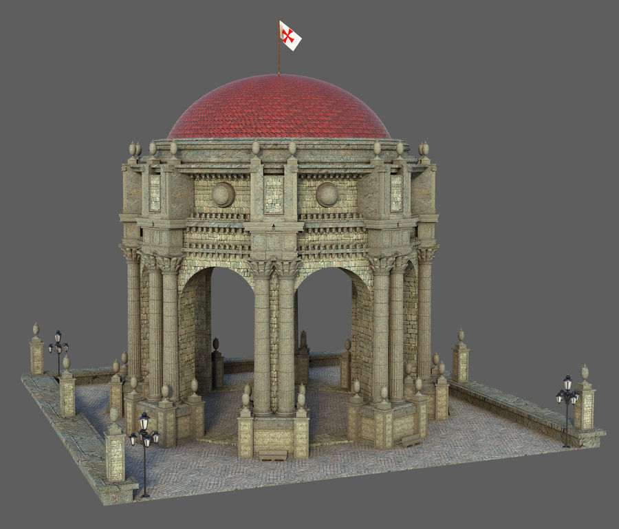 Classic Dome Structure royalty-free 3d model - Preview no. 2