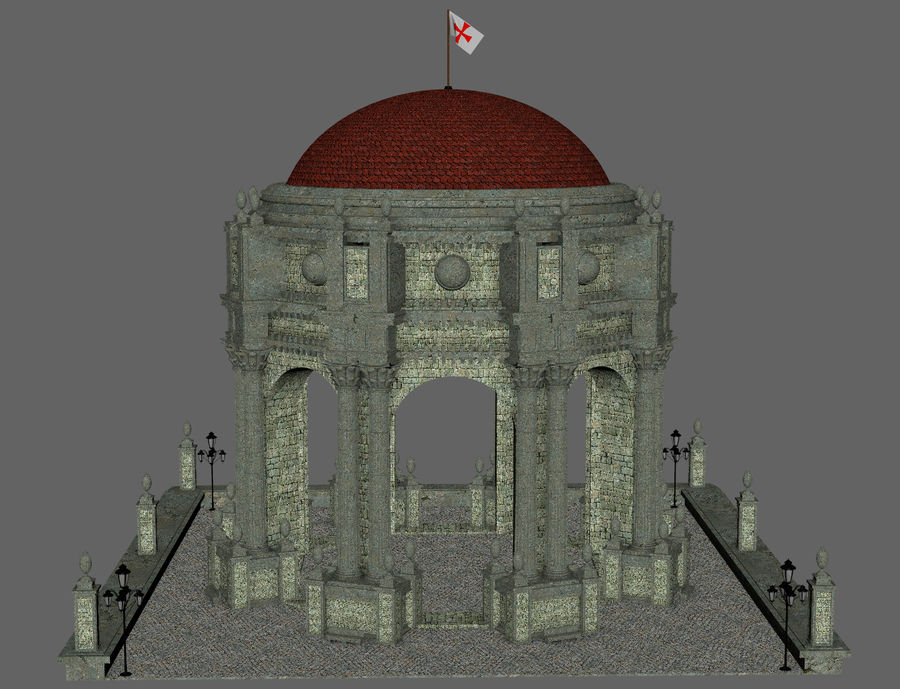 Classic Dome Structure royalty-free 3d model - Preview no. 5