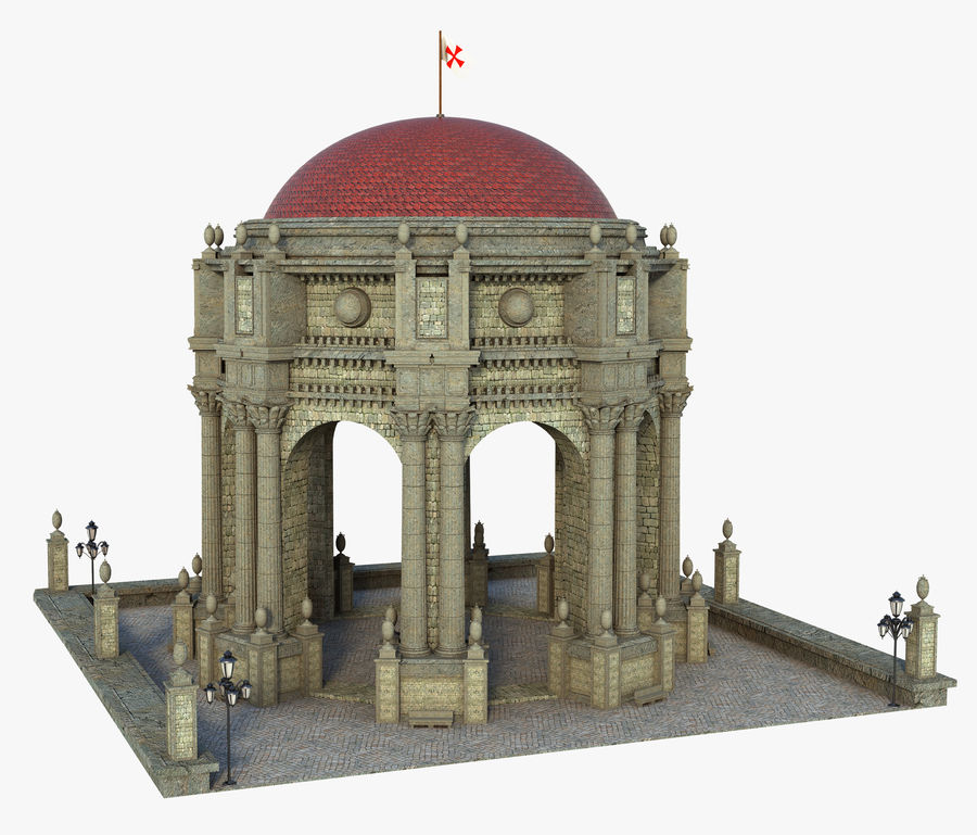 Classic Dome Structure royalty-free 3d model - Preview no. 1