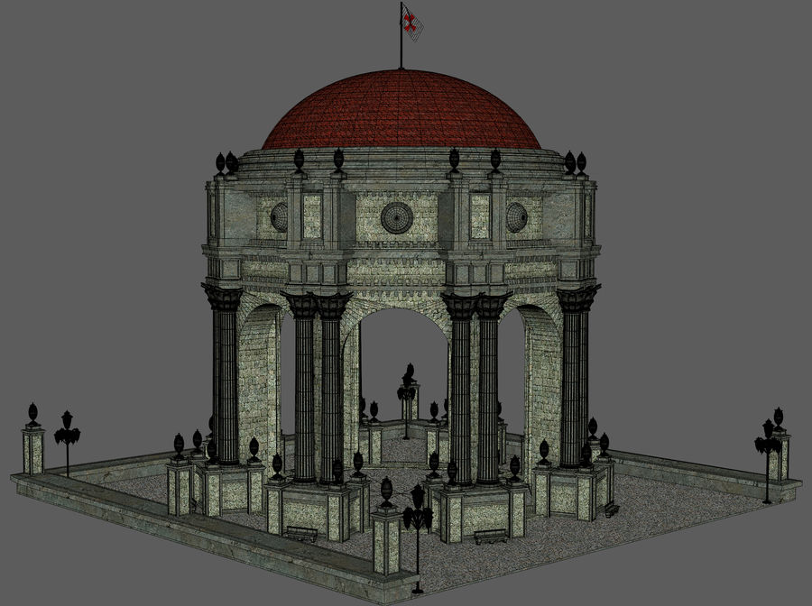 Classic Dome Structure royalty-free 3d model - Preview no. 12