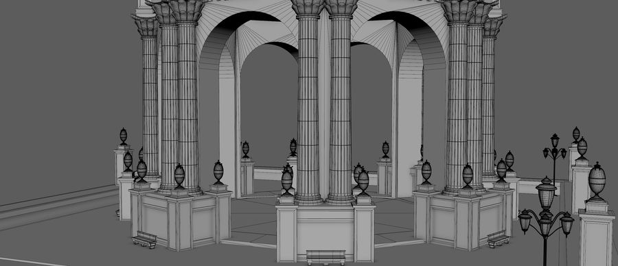 Classic Dome Structure royalty-free 3d model - Preview no. 10