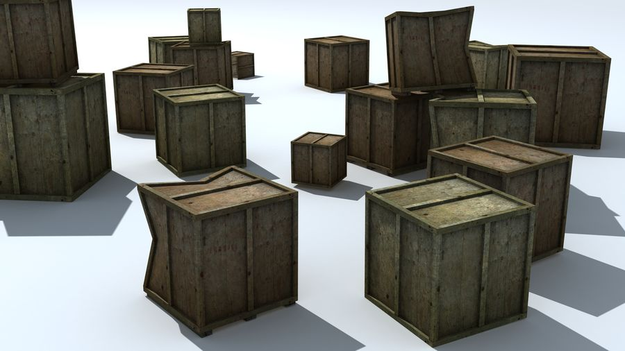 Wooden Box Crates royalty-free 3d model - Preview no. 4