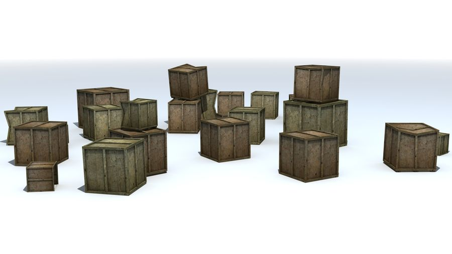 Wooden Box Crates royalty-free 3d model - Preview no. 1