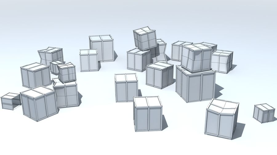 Wooden Box Crates royalty-free 3d model - Preview no. 7