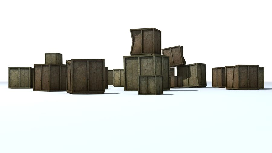 Wooden Box Crates royalty-free 3d model - Preview no. 5