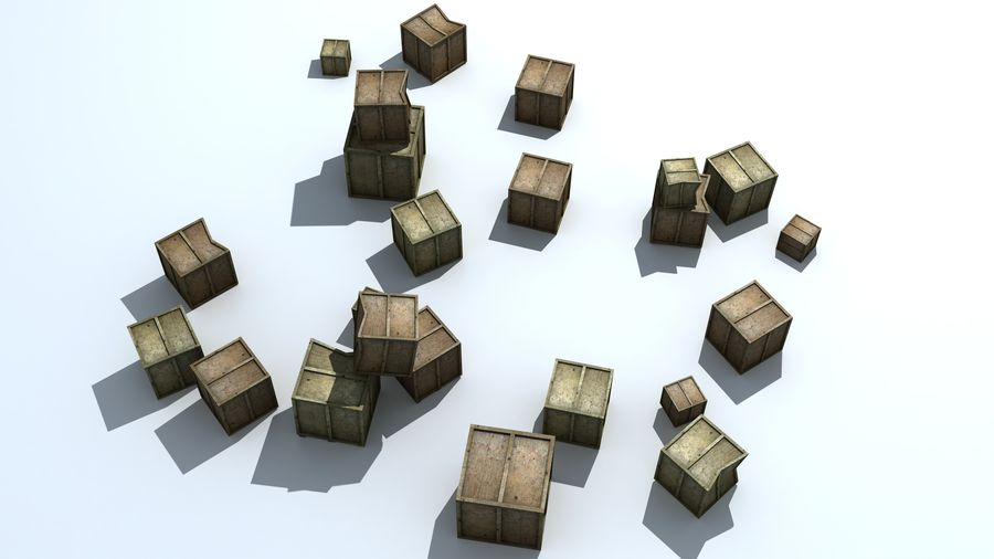 Wooden Box Crates royalty-free 3d model - Preview no. 3