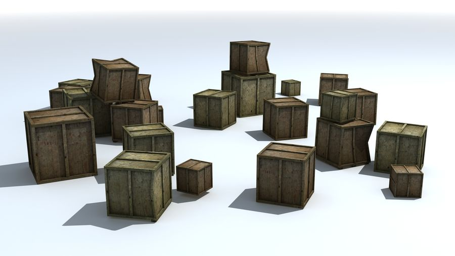 Wooden Box Crates royalty-free 3d model - Preview no. 2