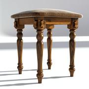 Viktorianischer Schemel altes natürliches 3d model
