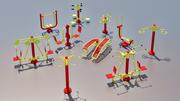 Strumenti sportivi Basso contenuto di poli 3d model