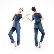 40 poz güzel tıbbi hemşire 3d model