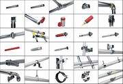 Selection of construction pipe fittings and assets 3d model